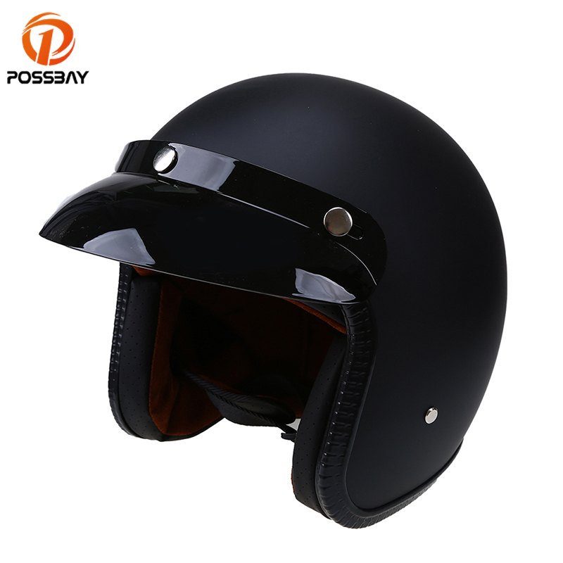 POSSBAY Open Face Half Motorcycle Helmets ABS Moto Vintage Motorbike Cafe Racer Safety Casque Casco for