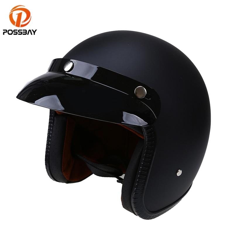 POSSBAY открытым уход за кожей лица половина мотоциклетные шлемы ABS мото Винтаж Кафе Racer Детская безопасность шлем для Harley