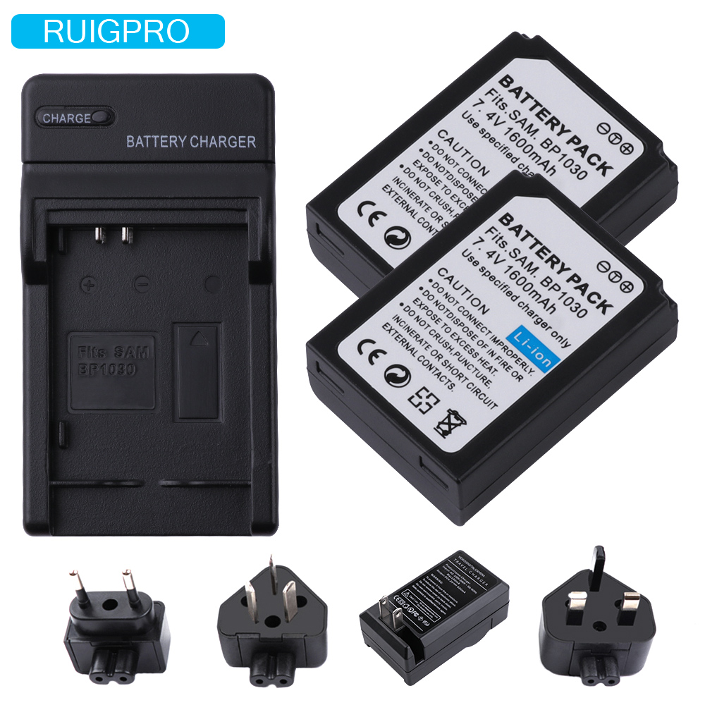 2pcs BP-1030 BP 1030 BP1030 <font><b>Battery</b></font> + Charger for <font><b>Samsung</b></font> NX200 NX210 NX300 NX500 NX1000 <font><b>NX1100</b></font> NX-300M <font><b>Battery</b></font> image