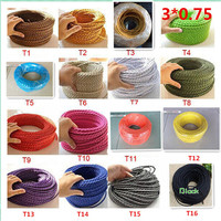 3 cores different colors braided textile fabric cable 3*0.75mm cloth coated silicon cable DIY vintage pendant lamp cloth wire