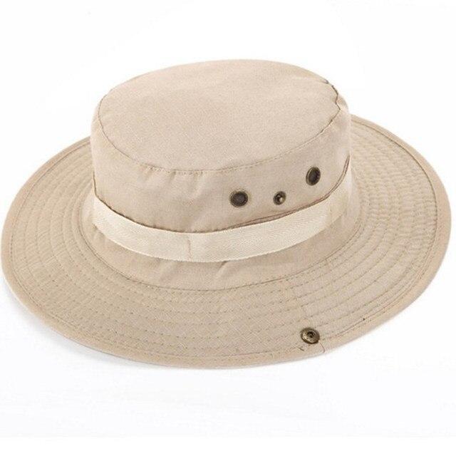 08cc8b07df21b 2018 New Men Solid Bucket Hat Wide Brim Military Hats Chin Strap Fishing Cap  Jungle Hunting