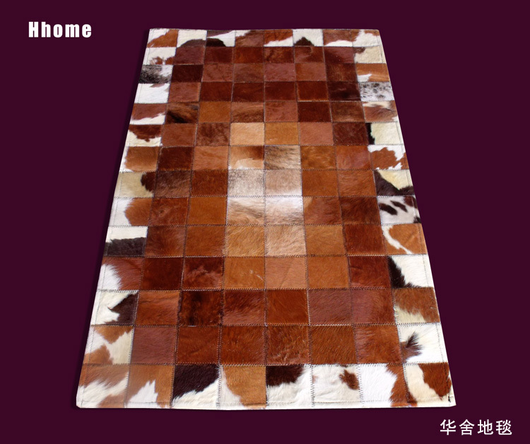 2017 Free Shipping 1 Piece Via DHL 100% Natural Cowhide Cow Leather Cotton Rag  Rug