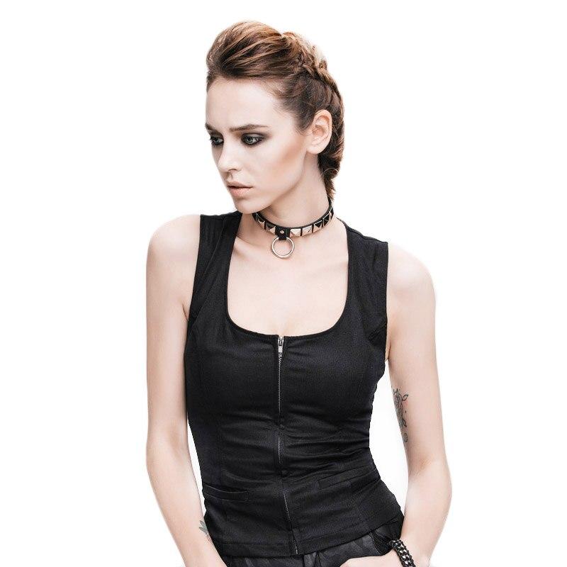 Marque Steampunk femmes solide coton réservoir hauts été Sexy sans manches évider u-cou mince noir haut gilet vêtements de Fitness