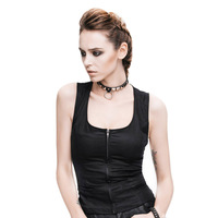 Devil Fashion Women Solid Cotton Sleeveless Tank Tops Summer Sexy Hollow Out U Neck Slim Thin