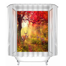 3D shower curtain forest deer pattern Polyester Fabric Waterproof Shower Curtain Eco-Friendly Bathroom Curtain Home deer water resistant shower curtain