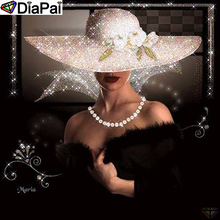 DiaPai 5D DIY Diamond Painting 100% Full Square/Round Drill Beauty hat Embroidery Cross Stitch 3D Decor A21512