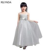 Princess Girls Party Dress christmas Girl Clothes Sleeveless Silk Girl Flower bows Dresses Flower Girls Princess Dress 6 Colors