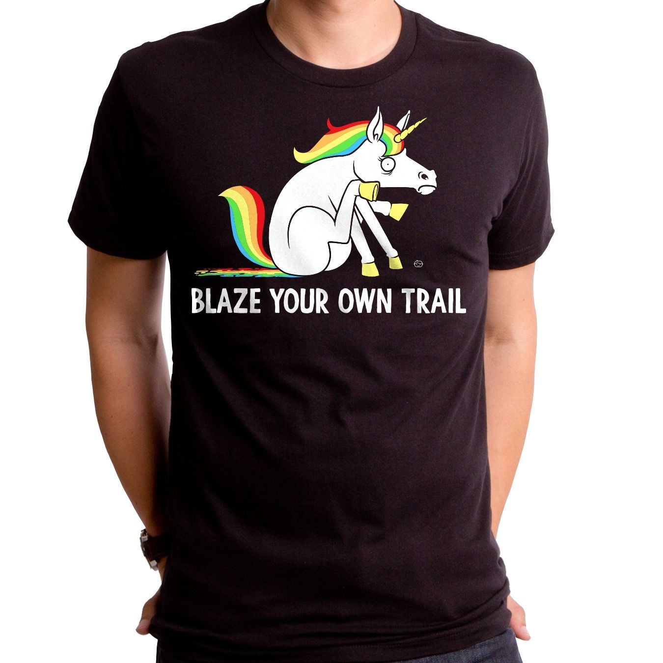 New Authentic Unicorn Blaze Your Own Trail Adult soft T-shirt Design Casual Cool ...