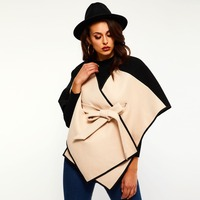 Woman Cape and Poncho 2019 Autumn Winter Black Khaki Patchwork poncho Ladies Woolen Capes Belted Cloak Coats Women Office Tops