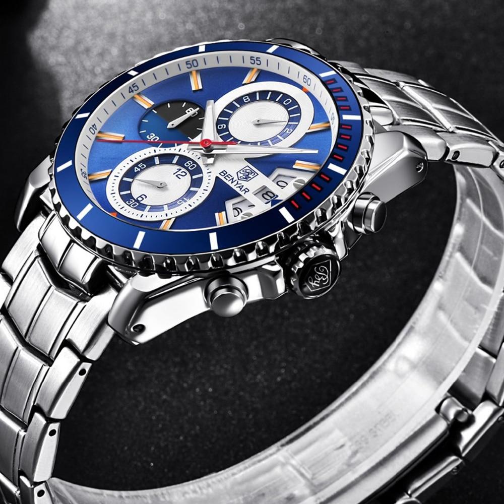BENYAR Men fashion Leisure Watch Luxury Brand Quartz watch all-steel military sports waterproof men watch Support Dropshipping цена и фото