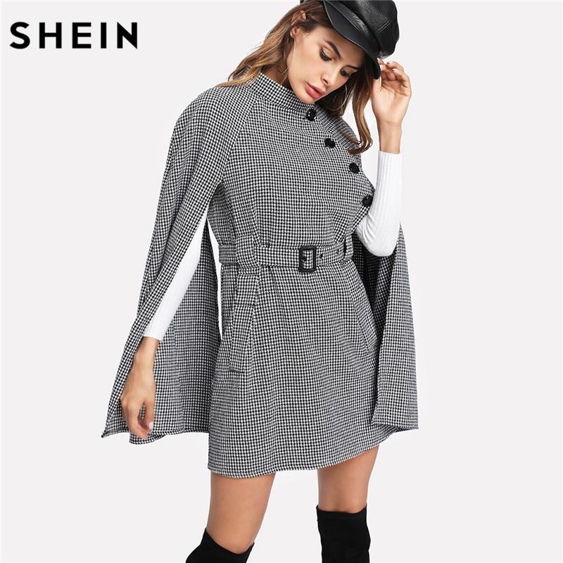 SHEIN Vintage Long manteau femmes noir et blanc automne manteau Cape manches col montant auto ceinturé pied de poule Cape manteau
