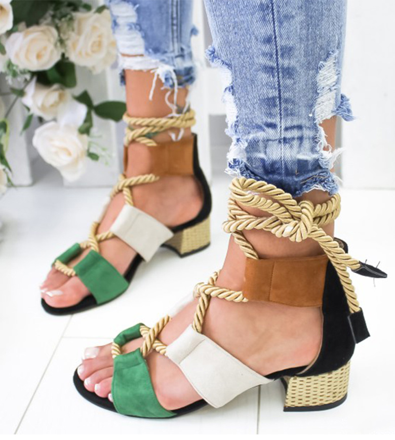 HTB1D1CUaRiE3KVjSZFMq6zQhVXao Women Sandals 2019 Women Heels Shoes For Gladiator Sandals Women High Heels Summer Shoes Woman Lace Up Peep Toe Chaussures Femme