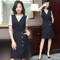 Korean Women Business Suit Ol Style Office Work Vest Dress Robe Blazer Shirt Two Piece Sets Work Wear Sundress Uniform DD2025