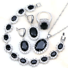 Fashion Black Crystal 925 Sterling Silver Jewelry Sets Jewelry Set For Women  Earrings/Pendant/Necklace/Rings/Bracelet Free Box