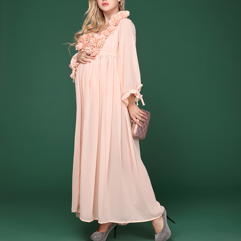 Maternity Photography Long Sleeve V-neck Chiffon Dress Props Pregnant Women Photo Shoot Studio Dresses Props Baby Shower Clothes lace jacquard spliced chiffon bohemian v neck short sleeve dress for women