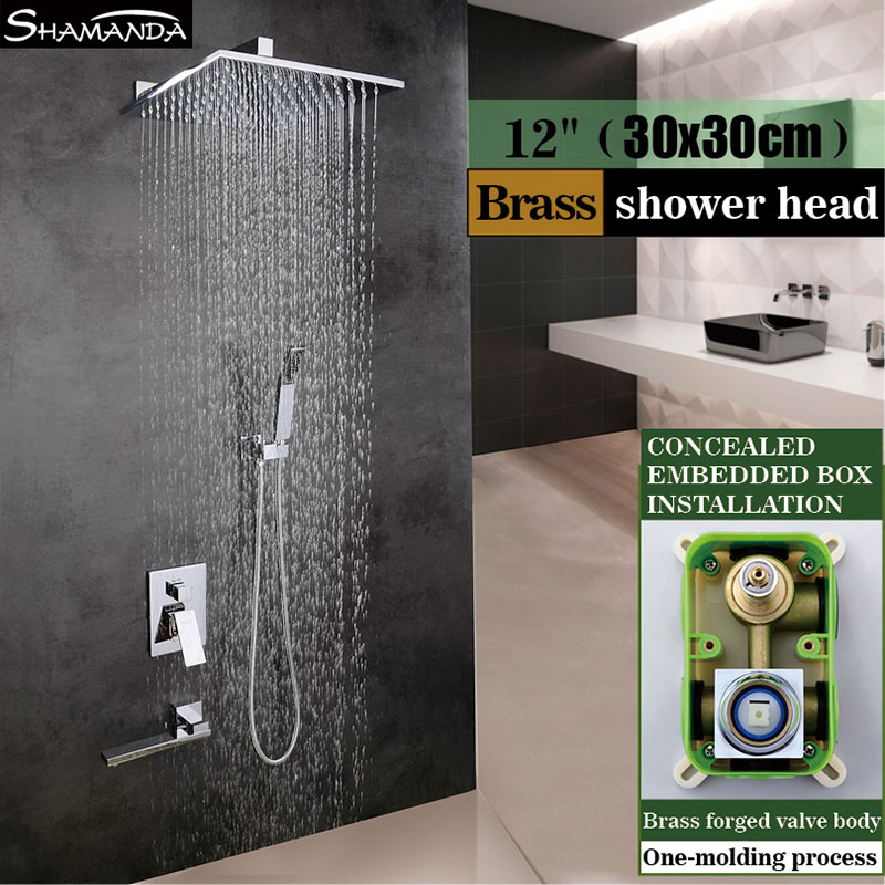 Латунь Для ванной смеситель в настенный душ три функции встроенные окно микшера Клапан с ручным душем и носик смесителя