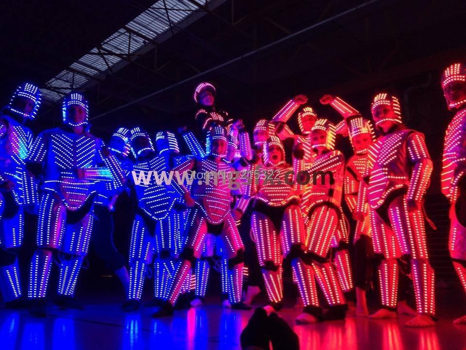 RGB LED Robot dance costume LED font b suits b font LED light clothes for stage