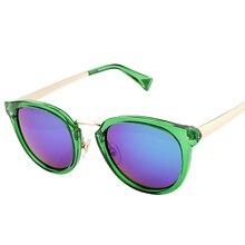 Moda Diseñador de la marca gafas de Sol de Las Mujeres Deslumbran Colorido Marco Redondo Gafas de Sol de Recubrimiento Espejo Gafas Oculos gafas De Sol Mujer