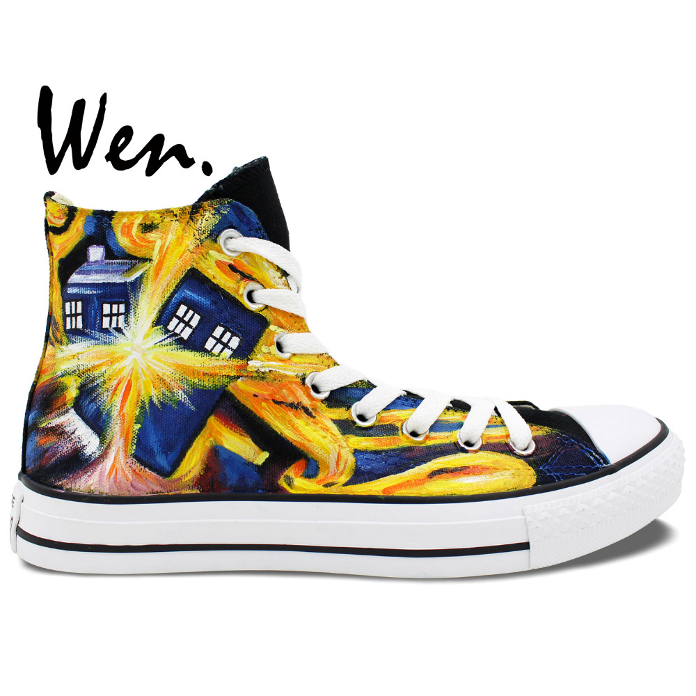 Wen Hand Painted Shoes Design Custom Doctor Who Exploding Tardis High Top Canvas Shoes Man Woman Sneakers Birthday Gifts wen unisex hand painted shoes custom design galloping horse men women s high top canvas shoes christmas gifts birthday gifts