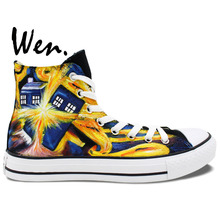 Wen Hand Painted Shoes Design Custom Doctor Who Exploding Tardis High Top Canvas Shoes Man Woman Sneakers Birthday Gifts