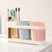 Toothbrush Toothpaste Holder Cup Holder with Two Water Cup Shelf Backet Bathroom Accessory Set Home Bathroom Gadgets Plastic