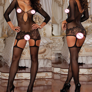Women Sexy crotchless bodysuit Lingerie Erotic Bodystocking Body suit Costumes Body stocking Babydolls Pantyhose sheer catsuit(China)
