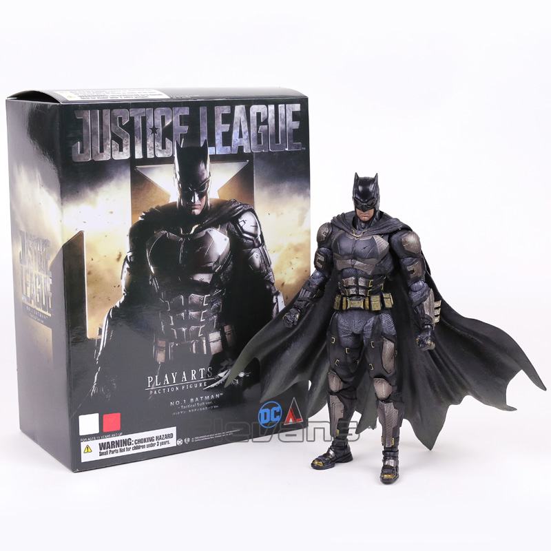 Genuine Original Play Arts Kai Justice League NO.1 Batman Tactical Suit ver. PVC Action Figure Collectible Model Toy 24.5cm xinduplan dc comics play arts kai justice league batman reloading dawn justice action figure toys 25cm collection model 0637