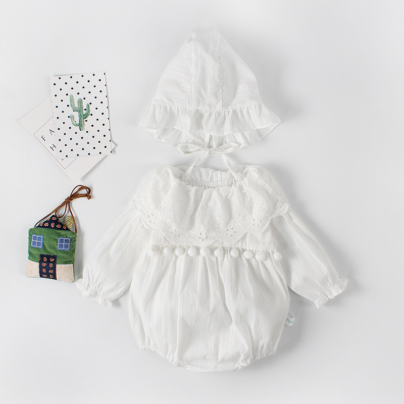 Pompom Lace Baby girls   romper   Long sleeves Baby girl Jumpsuit Tassel Balls Infant   Rompers  +hat Sets Summer clothes for newborn