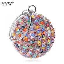 Shoulder Handbags Chain Rhinestones-Purse Ball-Handle Small Clutch Round Diamonds Women