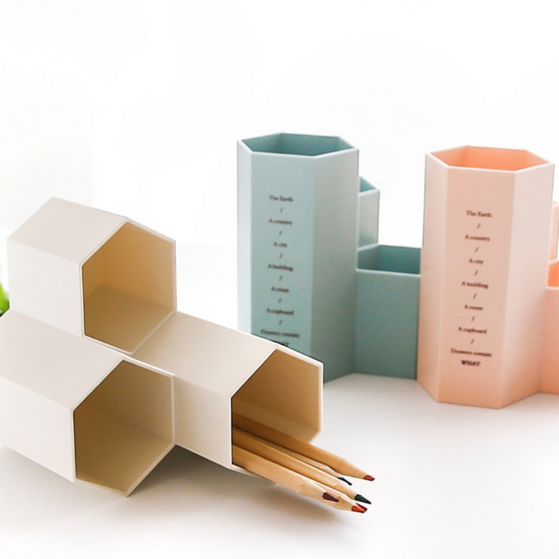 1 Pcs Pen Holders Simple High Quality PS Hexagonal Pencil Holders Pen Stand Office Accessories