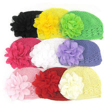 2019 hat for girls newborn cap photography props Toddlers Infant Baby Girl  Fashion Flower Hollow Out Hat Headwear Knitted Hat(China)