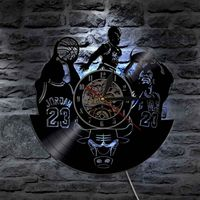 Play Basketball LED Wall   Clock   Battery Operated Decorative Bedroom Seven Lighting Color Change Hanging Watch Silent