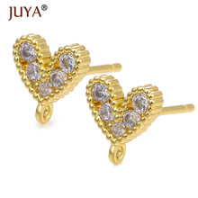 1 Pair Plated 14 K Gold Zircon Heart shape Stud Earrings Findings With Hole Women Girl Diy Earring Accessories Components(China)