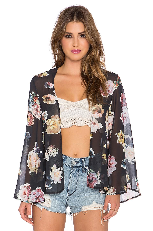 Estilo del verano mujeres forman la blusa impresa flor Kimono Cardigan Kimonos V