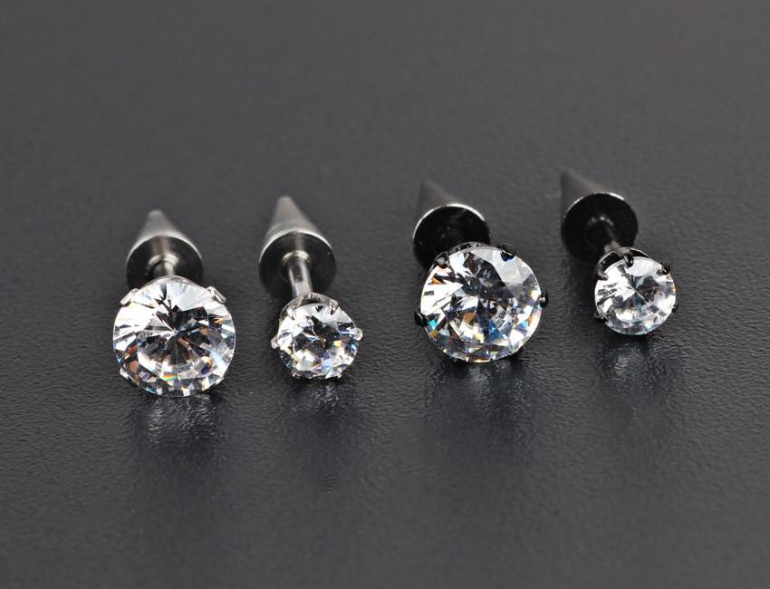 1 Pcs Fashion Crystal Rhinestone Stainless Steel Ear Taper Stud Earrings  Men Women Punk Cool Jewelry c0e6bf3f5ca3