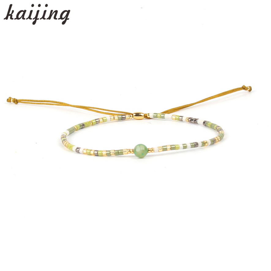 KaIJING Newest Arrival Multicolor DIY Stone Beaded Crystal Strand Charm Bracelet For Girls Student Birthday Gifts