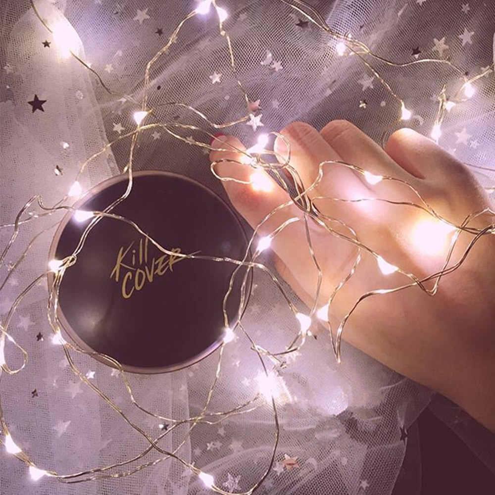 1/2/5/10 M Медный провод светодиодные огни строки праздник освещение гирляндой Рождественский венок для Новый год свадебная вечеринка украшения