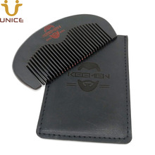 100 pcs/lot New Wooden Black Combs with Leather Case Laser Engraved Customized LOGO Anti Statics Wood Head Hair Comb Beard