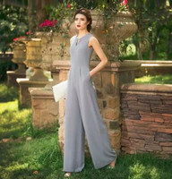 Jumpsuits for Women 2018 Summer Party Overalls Rompers Chiffon Fashion Elegant Gray Color Full Length Bodysuit Plus Size 3XL 4XL