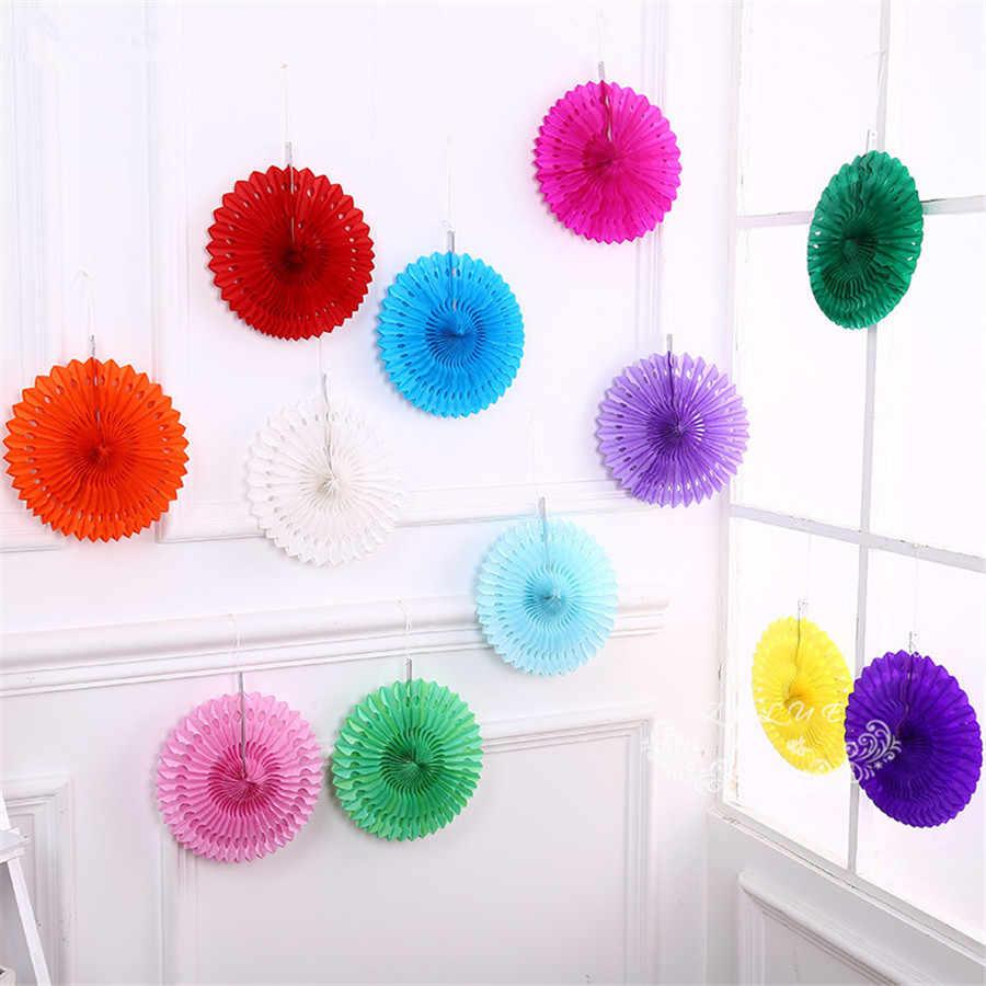 8 polegada cor papel cortar-para fora fãs de papel pinwheels pendurado flor redonda fãs de papel artesanato festa de casamento decoração do festival de aniversário