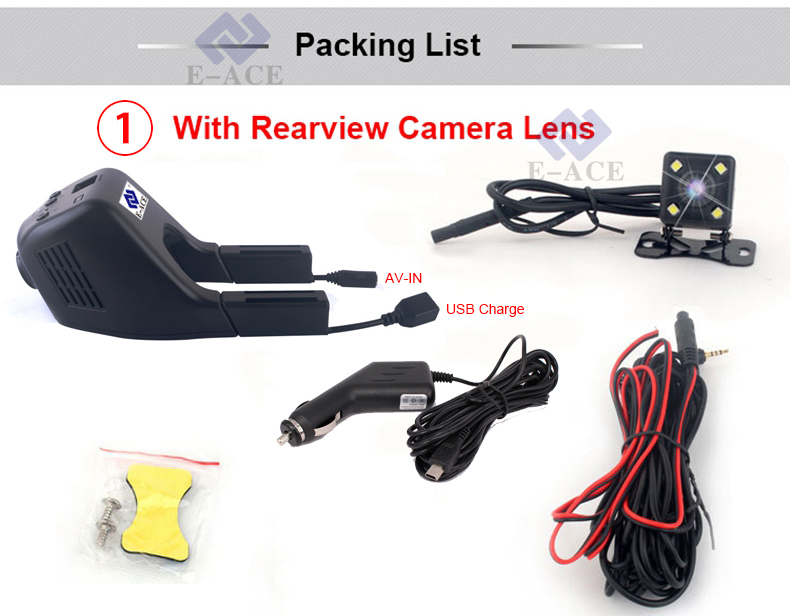 E-ACE Mini Wifi Car Dvr Dash Cam Video Recorder Camcorder Dual Camera Lens 170 Degree Full HD 1080P Reistrator Night Version 29