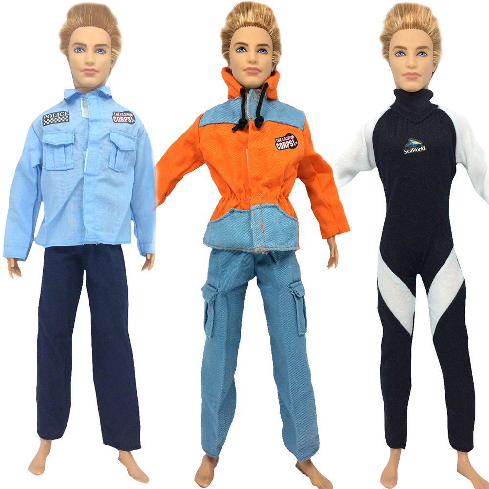 NK three Set/Lot  Authentic Doll Garments Fight Uniform Cop Outfit For Barbie Boy Male Ken Doll For Lanard  1/6 Soldier Cosplay