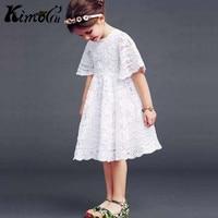 Kimocat New Summer Christmas Cotton Lace Girl Crochet White Wedding Dress