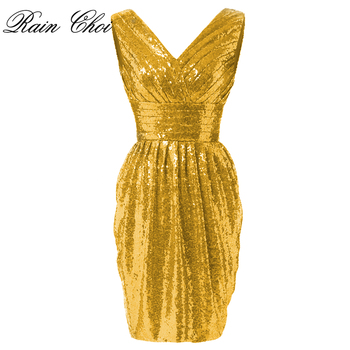 Short Evening Dresses 2020 Women Elegant Sleeveless Mermaid Sequined Evening Party Dresses