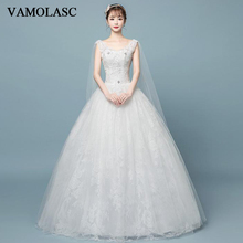 VAMOLASC Elegant Sequined V Neck Lace Appliques Ball Gown Wedding Dresses Crystal Tank Backless Bridal Gowns