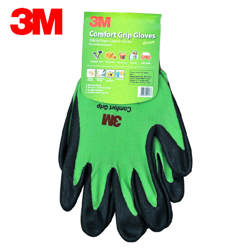 3M Wear-resistant Gloves Anti-skid Comfortable Nitrile Rubber Gloves Size XL Working Gloves Orange/Green/Yellow KM008 cut resistant retardant gloves nitrile rubber spandex lining gloves yellow size l xl top quality gm1140