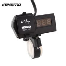 Motorcycle Motorbike Dual USB Charger with LED Digital Display Voltmeter