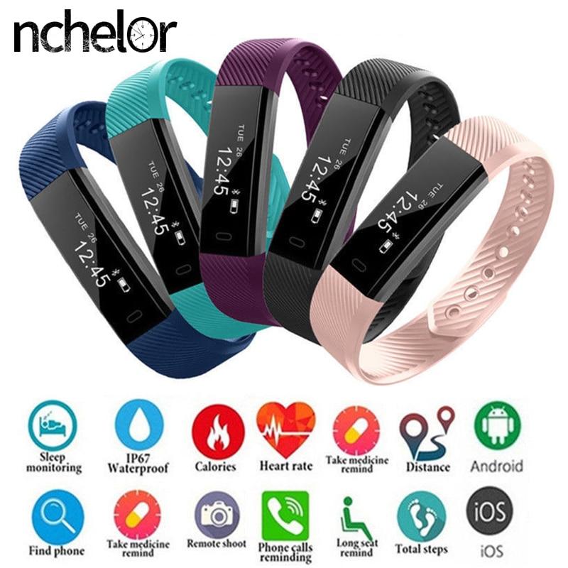 Fitness-Tracker Watch Smart-Bracelet Wristband-Heart-Rate ID115HR Men Women Step