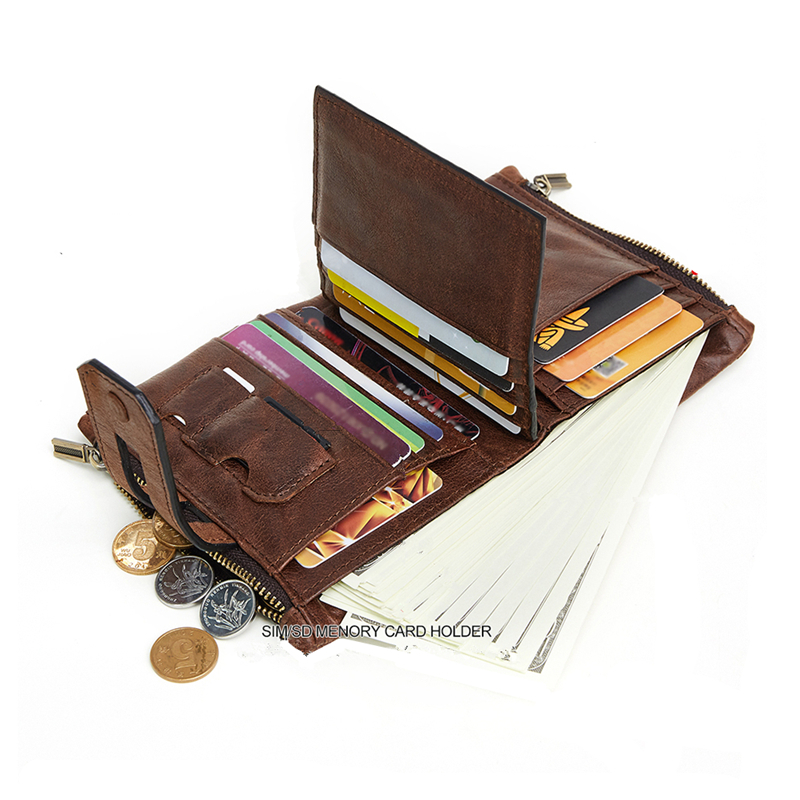 Real Genuine Leather Men Wallet 2018 New Vintage Small wallet Zipper Design With Coin Purse Pockets Mini Walet