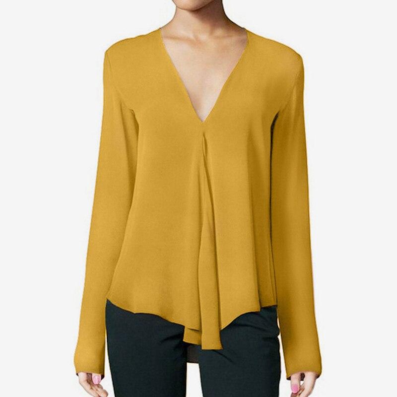 Women's V Neck Chiffon Shirt Top Plus Size 6XL Long Sleeve Black Feminine Blouse 2019 Summer Elegant Soft Female Pullovers Tops